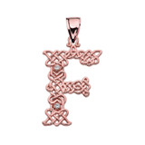 """""""F"""" Initial In Celtic Knot Pattern Rose Gold Pendant Necklace With Diamond"""