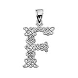 """""""F"""" Initial In Celtic Knot Pattern Sterling Silver Pendant Necklace"""