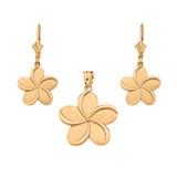 14K Yellow Gold Hawaiian Plumeria Flower Necklace Earring Set