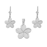 14K White Gold Hawaiian Plumeria Flower Necklace Earring Set