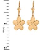 Yellow Gold Hawaiian Plumeria Flower Earrings