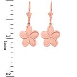 14K Rose Gold Hawaiian Plumeria Flower Earrings