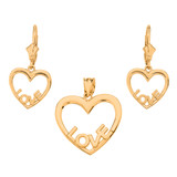 14K Yellow Gold Love Heart Necklace Earring Set