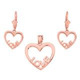 14K Rose Gold Love Heart Necklace Earring Set