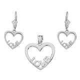 Sterling Silver Love Heart Necklace Earring Set