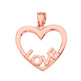 Rose Gold Love Heart Pendant Necklace