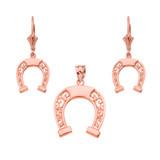 14K Rose Gold Filigree Horseshoe Necklace Earring Set