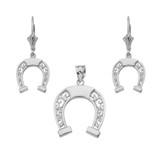 Sterling Silver Filigree Horseshoe Necklace Earring Set