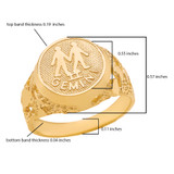 Yellow Gold Gemini Zodiac Sign Nugget Ring