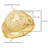 Yellow Gold Leo Zodiac Sign Nugget Ring