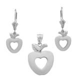Sterling Silver Apple Heart Necklace Earring Set