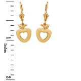 Yellow Gold Apple Heart Earrings