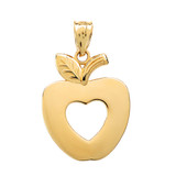 Yellow Gold Apple Heart Pendant Necklace