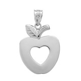 Sterling Silver Apple Heart Pendant Necklace