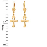 Yellow Gold Egyptian Ankh Polished Earrings