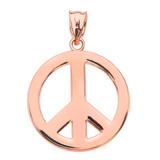 Rose Gold Boho Peace Sign Pendant Necklace