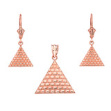 14K Rose Gold Egyptian Pyramid Triangle Necklace Earring Set