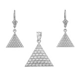 14K White Gold Egyptian Pyramid Triangle Necklace Earring Set