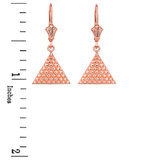 14K Rose Gold Egyptian Pyramid Triangle Earrings