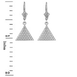 14K White Gold Egyptian Pyramid Triangle Earrings