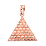 Rose Gold Egyptian Pyramid Triangle Pendant Necklace