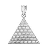Sterling Silver Egyptian Pyramid Triangle Pendant Necklace