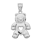White Gold Love Bear Pendant Necklace