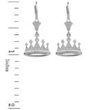 14K White Gold Royal Crown Earrings