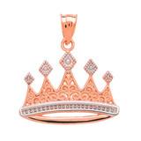 Rose Gold Royal Crown Necklace Pendant