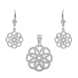 Sterling Silver Celtic Knot Round Flower Necklace Earring Set
