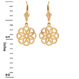 Yellow Gold Celtic Knot Round Flower Earrings