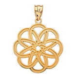 Yellow Gold Celtic Knot Round Flower Pendant Necklace