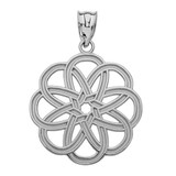 White Gold Celtic Knot Round Flower Pendant Necklace