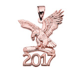 Rose Gold Class of 2017 Graduation Eagle Holding Diploma Pendant Necklace