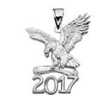 White Gold Class of 2017 Graduation Eagle Holding Diploma Pendant Necklace