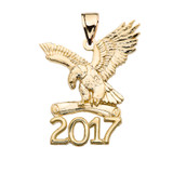 Yellow Gold Class of 2017 Graduation Eagle Holding Diploma Pendant Necklace