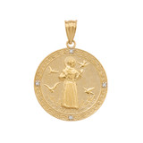 Yellow Gold St. Francis of Assisi Circle Medallion Diamond Pendant Necklace (Medium)