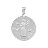 White Gold St. Francis of Assisi Circle Medallion Diamond Pendant Necklace (Medium)