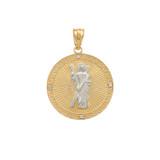 Two Tone Yellow Gold Saint Andrew Circle Medallion Diamond Pendant Necklace  (Small)