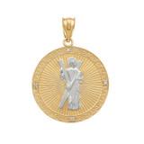 Two Tone Yellow Gold St. Andrew Circle Medallion Diamond Pendant Necklace  (Medium)
