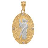 Two Tone Yellow Gold St. Andrew Oval Medallion Diamond Pendant Necklace (Medium)