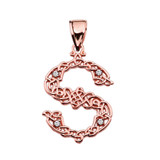 """""""S"""" Initial In Celtic Knot Pattern Rose Gold Pendant Necklace With Diamond"""