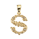 """""""S"""" Initial In Celtic Knot Pattern Yellow Gold Pendant Necklace With Diamond"""