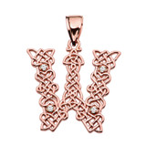 """""""W"""" Initial In Celtic Knot Pattern Rose Gold Pendant Necklace With Diamond"""