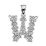 """""""W"""" Initial In Celtic Knot Pattern White Gold Pendant Necklace With Diamond"""