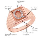 Rose Gold Diamond Initial Q Ring