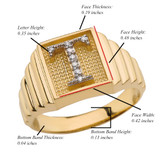 Yellow Gold Diamond Initial T Ring