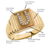Yellow Gold Diamond Initial U Ring