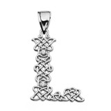 """""""L"""" Initial In Celtic Knot Pattern White Gold Pendant Necklace With Diamond"""