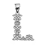 """""""L"""" Initial In Celtic Knot Pattern Sterling Silver Pendant Necklace With CZ"""